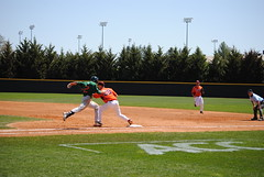 OUT AT FIRST. (SneakinDeacon) Tags: acc baseball miami ncaa vt hurricanes blacksburg virginiatech hokies englishfield