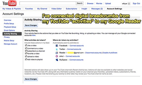 YouTube breadcrumbs to Google Reader