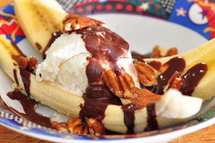 banana with ice cream and chocolate ganache