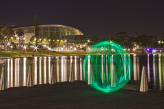 Ball of Light -  Adelaide Convention Centre (biskitboy) Tags: sculpture sky stars water waterreflection waterdrops wharf wood metal mirror river stainlesssteel rivertorrens orb photo photographer reflection long longexposure lightwand lights lightpainting lightball light kiwi high green exterior convention contrast bright brightcolours beautiful balls balloflight amazing adelaidenight southaustralia sa eos450d eos canon canon18200 canoneos450d australia 450d 18200 adelaideconventioncentre torrensriver ball round sphere art color colourbrightcolors 5dmk2 5dmkii canondslr circle artistic lighting night lightart