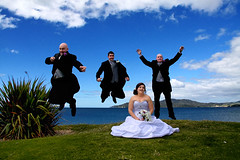 Shannon-&-Patrick-Boys-Jumping (Moments In Time Fotographer) Tags: wedding fun groom bride jumping shot action nz bridegroom marieclaire taipa shannonpatrick momentsintimephotography