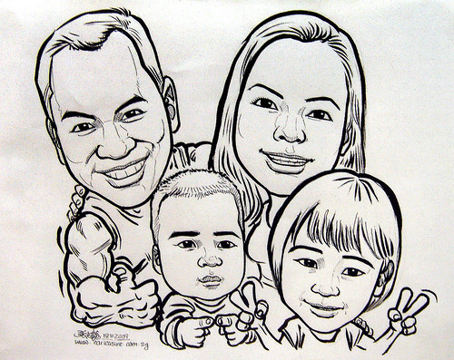 Family caricatures in ink 191109