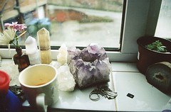 debbie's kitchen window (Adele M. Reed) Tags: birthday window kitchen 35mm crystals kodak ledge coventry expired canoneos