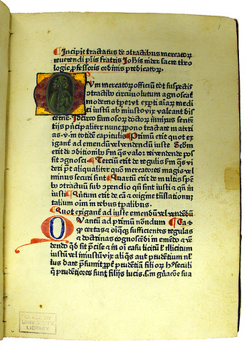 Illuminated initial in Nider, Johannes: De contractibus mercatorum