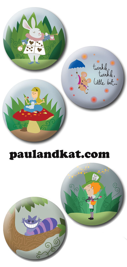 Paul and Kat---Wonderland Buttons!