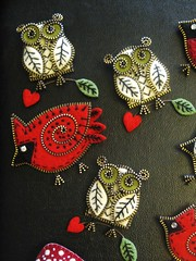 Owls and cardinals!! (woolly  fabulous) Tags: bird wool pin recycled brooch felt zipper embroidered