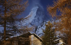 2009_12_30_moonlit_matterhorn (dsearls) Tags: blue winter white mountain alps switzerland moonlight zermatt matterhorn alp cervino 20091230