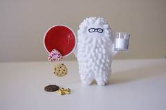 Happy Birthday Bubi! (thesinisterpenguin) Tags: birthday red baby white cute art nerd cookies fun toy toys happy glasses milk crazy nikon label awesome bubi au meals vinyl adorable plate cutie explore biscuits oops dslr rement petites puchi yeung crazylabel d40 treeson samgreen bubiauyeung thesinisterpenguin