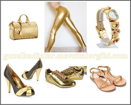 Dore rengi Altın rengi kıyafetler giysiler taytlar saatler ayakkabılar sandaletler altın renkte
