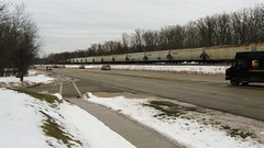 Southbound Canadian Pacific unit grain train. Baneckburn Illinois. January 2010.