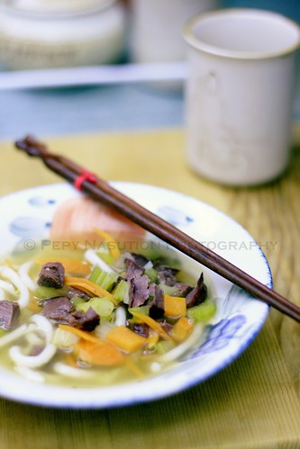Udon Soup with Smoked Duck and Vegetables