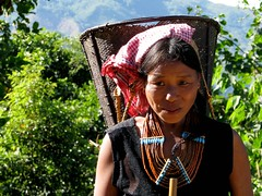Konyak woman with typical Naga necklace (Linda DV (back, catching up)) Tags: portrait people india canon geotagged culture tribal clothes mon tribe ethnic minority 2008 sevensisters nagaland ethnology 7sisters konyak powershots5is minorité minderheid norteastindia lindadevolder