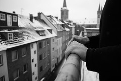 Everything he touched turned into snow (AmeVolatile) Tags: bw white snow black buildings germany balcony kln colonia snowing banister rhine stseverin balaustrade