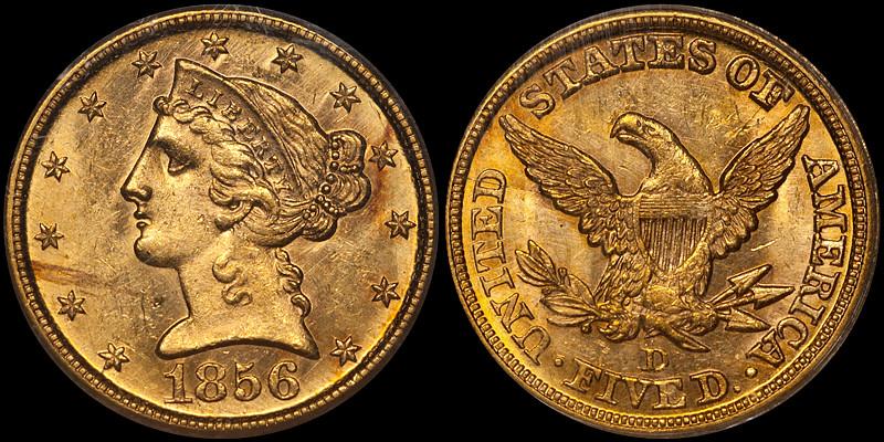 1856-D $5.00 PCGS MS62