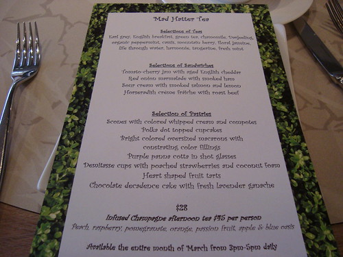 Alice in Wonderland Tea menu