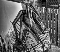 Reflection of home -- B&W (J-C-M) Tags: blackandwhite bw house reflection home car photoshop fence nikon d70s hdr topaz 3xp photomatix