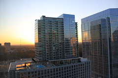 Good Morning, Buckhead! (Division Avenue) Tags: city morning trees urban sun rooftop glass pool sunrise buildings reflections landscape concrete good steel mirrored buckhead