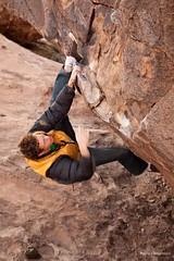 Bloody Flapper V4 (Hannah and Seamus Round the World) Tags: usa texas climbing bouldering tanks hueco blundering