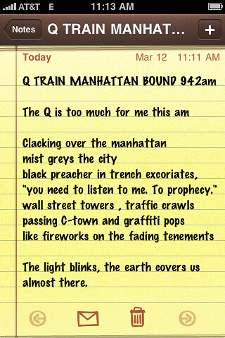 Q Train Manhattan poem