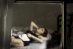 girl in bed (Stephen's PhotoArt) Tags: fiction blur window glass book bed voyeur intimacy sylviaplath