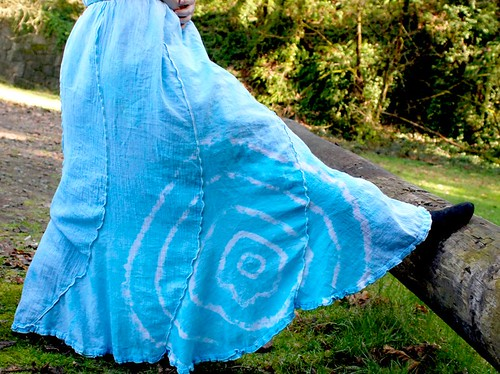 Soft Blue Sky long skirt tie dye