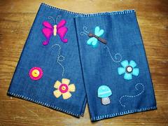 libreta (Ericka Balderas) Tags: flor craft felt libelula feltro mariposa libreta boton mezclilla fieltro manualidad