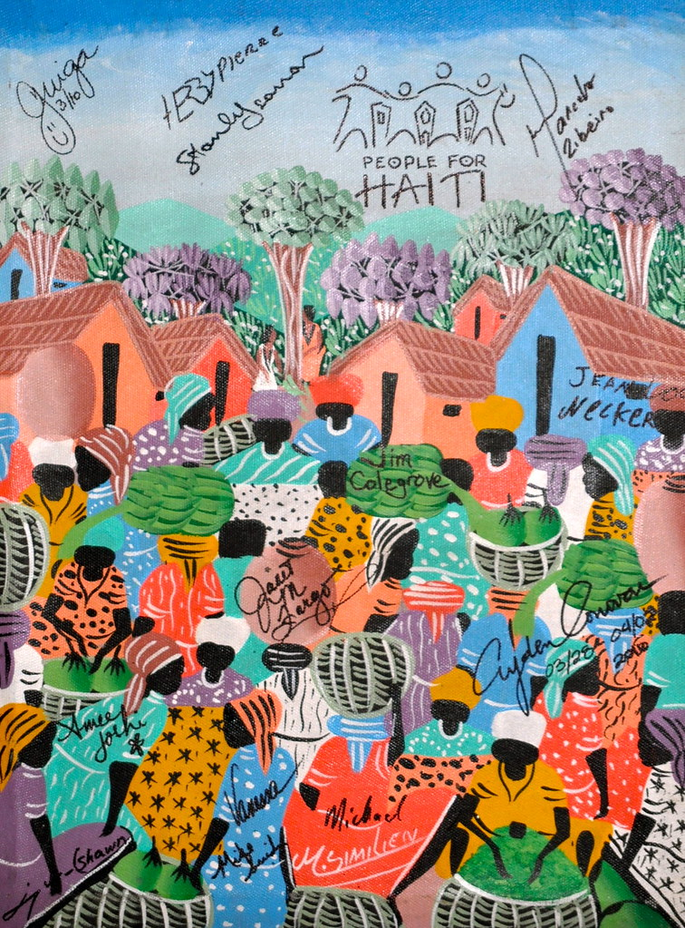 Haiti art with everyones' signature!!  Great Idea Kathy!!