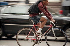sixth avenue (andrew nicholas) Tags: nyc ny newyork bike bicycle ride traffic manhattan fixedgear plaid brakeless
