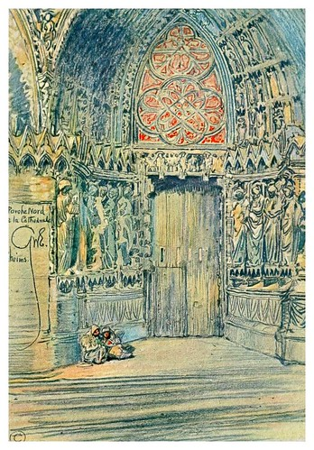 005-Puerta norte de la catedral de Reims-Vanished halls and cathedrals of France 1917- Edwards George Wharton
