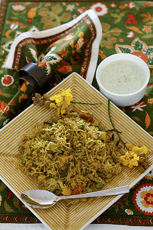 Vegetable Biriyani With Cucumber Mint Raita