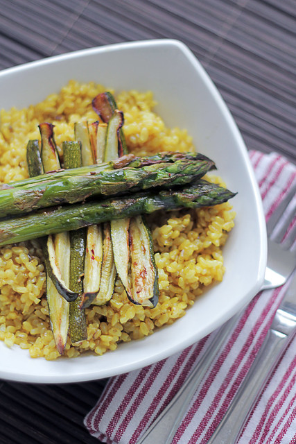 Asparagus and Courgettes Saffron Rice