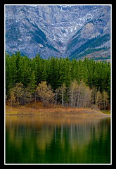 Reflections @ Wedge Pond (stevenbulman44) Tags: autumn mountain reflection tree green nature water canon kananaskis alberta 5d platinum blueribbon naturesfinest wedgepond theruby abigfave platinumphoto freenature betterthangood photographersworld