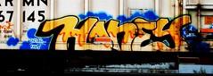 honey (w/ jaber streak) (mightyquinninwky) Tags: railroad graffiti streak tag graf railway tags 2006 tagged railcar honey graff graphiti 06 reefer dtc kyt trainart rollingstock paintedtrain jaber armn spraypaintart moniker reflectivetape movingart taggedtrain railroadart paintedreefer reeferart paintedrailcar taggedreefer taggedrailcar