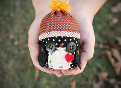 Penguin Ornament (Skunkboy Creatures.) Tags: winter penguin holidays handmade plush ornaments owls skunkboycreatures