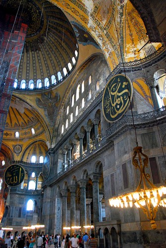 an attempt to capture the vastness of the interior space in the haghia sophia (aya sofya), istanbul