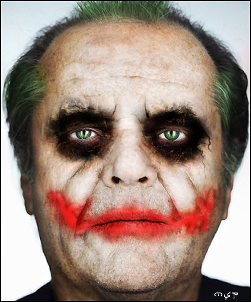 Jack Nicholson maquillado como el Joker de The Dark Knight
