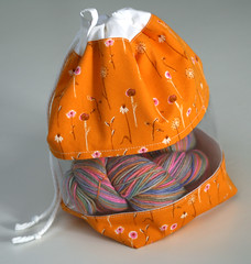 Peek-a-boo Bag - Heather Ross/Free Spirit (orange dandelions)