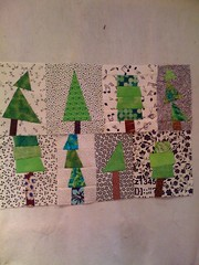 Wonky trees... on my design wall (aka french door)