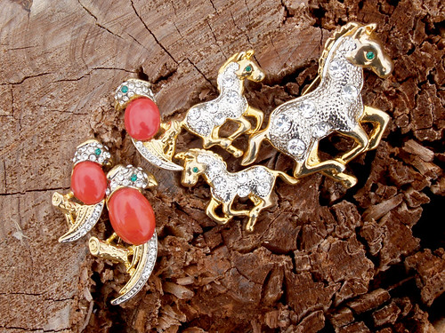 animal earrings and brooches