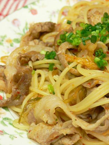 納豆入り豚キムチスパゲティ