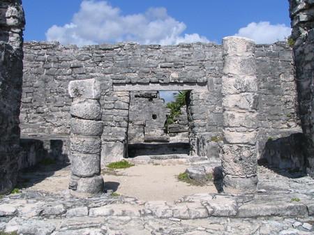 Line-up of doorways at Tulum ruins