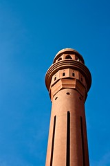 look up. (Socceraholic) Tags: blue red lighthouse lines yellow composition contrast digital canon rebel shadows photos minaret muslim mosque adobe simplicity processing minimalism simple lightroom masjed macbook xti 400d
