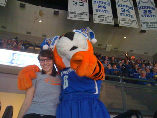 Pouncer and I at the Memphis vs. SEMU game at the FedEx Forum