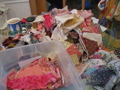 sorting brown and pink scraps