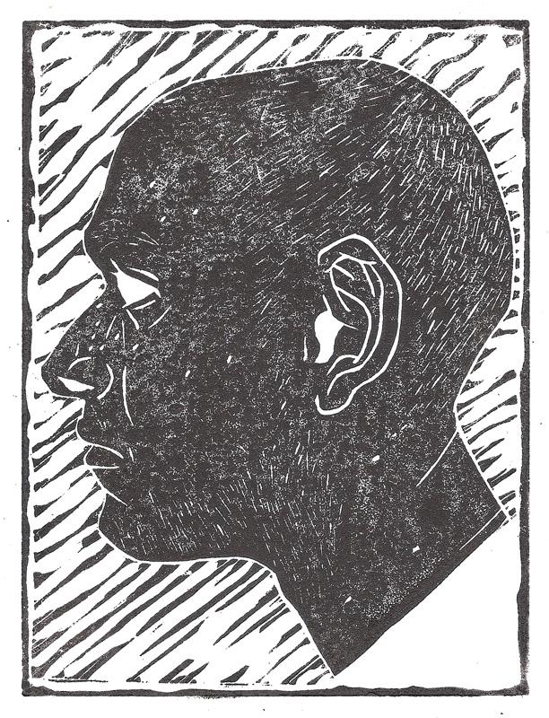 Self Portrait Linocut Print