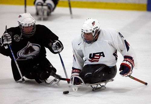 two sled hockey players