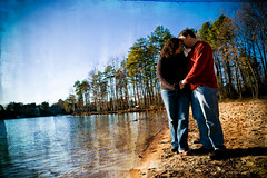 Caught in the Moment (lunahzon) Tags: love reflections happy daylight couple shadows waterfront charlotte holdinghands engaged textured lakenorman beachside embracing huntersville jettonpark highfashionphotography lunahzon leschickgodilovethatwomanherwork
