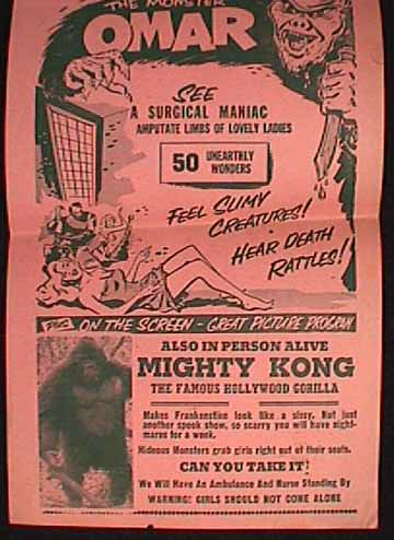 THE MAD DOCTOR MORRIS AND HIS DUNGEON OF DEATH Flyer featuring MIGHTY KONG