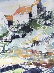Crail, Scotland: house by the shore (skyeshell) Tags: buildings scotland watercolour crail pleinair coastalscene paintingfromlife freepainting paletteknifebrush visiblytalented