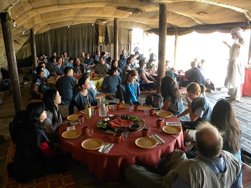 A seder meal in Bedouin tent